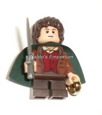 Lego Lord of the Rings Minifigure, FRODO w/ Green Cape, Sword & Ring, 9472 New