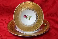 Winterling Heavily Gilt Floral Teacup and Saucer Set Porcelain Germany