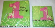 32 NAPKINS for Girls FIRST 1st BIRTHDAY Party LIME GREEN GIRAFFE Pink AGE 1, Zoo