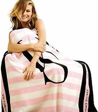 Victorias Secret Striped Blanket -PINK/BLACK ~ Super Soft & New !!