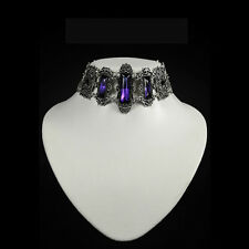 RESTYLE VIVIAN VIOLET GOTHIC CHOKER. VICTORIAN GOTHIC. PURPLE FACETED STONES.