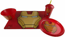 Marvel Avengers IRON MAN 4 Piece Child's Dinner Set - Plate, Place Mat, Bowl, Cu