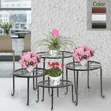 Black Wrought Iron 4 in 1 Pot Plant Stand Suit Flower Rack Decor Indoor Garden
