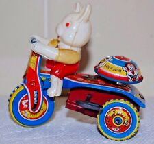JAPAN CELLULOID RABBIT TIN  WIND-UP TRICYCLE 1954 STRAIGHT HANDLE BAR VERSION