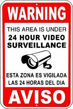 CCTV Warning Security Audio Video Surveillance Camera Sign English/Spanish METAL