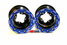 "DWT G2 Black Blue Rear Beadlock Rims Wheels 9"" 4/110 Suzuki LTR450 LTZ400 Z400"