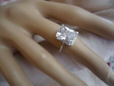 VINTAGE STERLING SILVER with WHITE SAPPHIRE SOLITAIRE RING SIZE 7 or O