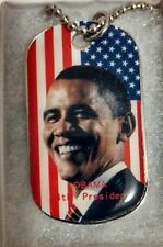 Obama - The President and The American Flag (Gift boxed) Dogtag w/ engraved #44