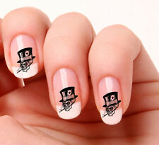 20 Nail Art Decals Transfers Stickers #530 -  Skull with top hat smoking
