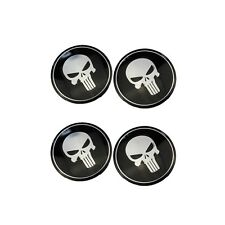 4 Pcs SUV Wheel Hub Center Cap Cover Punisher Skull Emblem Decor Decal Sticker