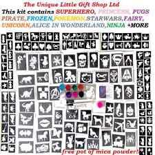 GLITTER TATTOO KIT boys girls 158 stencils Glue glitters fundraising  ideal gift