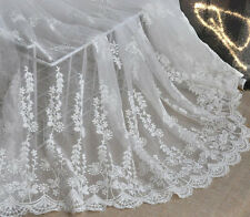 Lace Fabric Ivory Cotton Embroidery Flower Gauze Wedding Bridal Fabric 1 yard