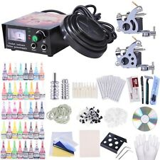 Complete Tattoo Kit 2 Machine 40 Ink Power Supply 10 Wrap Gun 20 Needle Grip Tip