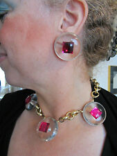 parure vintage collier & boucles d'oreille plexiglass french necklace & earrings