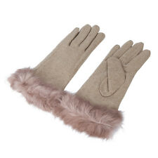 Elegant Women's Winter Thermal Wool Gloves with Rabbit Fur Trim - Diff Colors