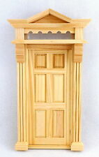 Dolls House Victorian Front Entrance Door 6 Panel with Top Light Wooden 1:12