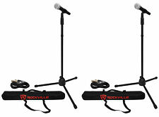(2) Rockville Pro MIc Kit 1 Metal Microphones + Mic Stands + Carry Bags + Cables