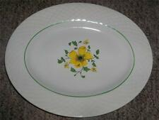 "Wedgwood China Jacqueline Yellow Green Flowers Band Embossed 12"" Oval Platter"