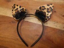 Leoparden Haarreif / Ohren für Kostüm Katze Leopard Kätzchen mit Marabu-Federn