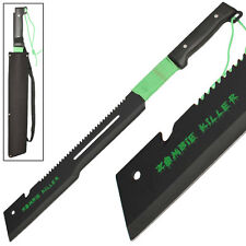 Zombie Killer Full Tang Offset Edge Serrated Hook CutterTactical Machete Sword