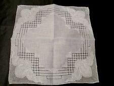 Vintage White Madeira  hand Embroidery draw work  linen wedding  hanky