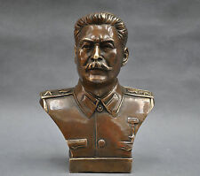collectible 6'' Russian Leader Joseph Stalin Bust Bronze Statue #1112