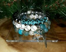 3 Crystal Starfish Turquoise Agate Gemstone Stretch Bracelet Arm Candy Stack