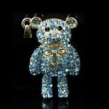USB Stick 4 GB Pendant Bear Rhinestone Jewellery Bear Teddy blue gold Coloured