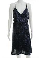 NWT C. LUCE Blue Sleeveless V Neck Wrap Front Sequin Embellished Dress Sz M $112