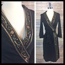 Diane Von Furstenberg / DVF Embellished Sequin Trim Wool Black Wrap Dress - Siz4