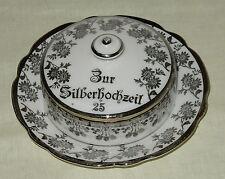 """Butterdose Dose Porzellan PK Silesia Königszelt Schlesien """"Zur Silberhochzeit"""""""