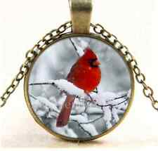 Vintage Red bird in the Snow Cabochon Glass Bronze Chain Pendant Necklace