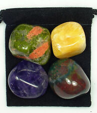 TUMOR TREATMENT Tumbled Crystal Healing Set = 4 Stones +Pouch + Description Card