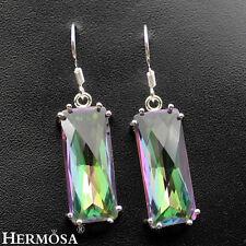 Magic Rainbow Fire Topaz Amethyst 925 Sterling Silver Water Drop Earrings 15