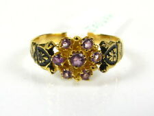 Victorian 14k Gold Sterling Silver Natural Amethyst Cluster Floral Ring I056AM