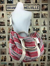 New Brandy Melville Boho Red Gray Large Travel Duffle Bag W/ Inside Mini Bag Nwt