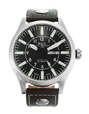 NEW BALL ENGINEER MASTER II AVIATOR AUTOMATIC LEATHER STRAP WATCH NM1080C-L3-BK