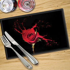 Toughened Glass Digital Print Placemats x 4 - Paint Drip Rose