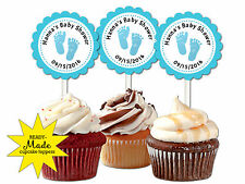 30 Blue footprints baby boy feet personalized cupcake toppers baby shower favors