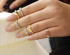 Women 5pc Key heart star Joint knuckle stacking tail Finger tip Middle Ring set