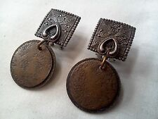 VTG Marjorie Baer MB SF Dangle/Drop Hammered Mixed Media Metal Clip-On Earrings!