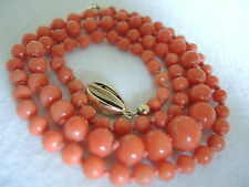CORALLO catena catena di Corallo Coral Necklace Gold ORO CHIUSURA COLLANA vintage