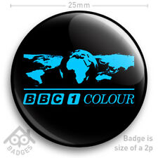 "BBC 1 COLOUR WORLD Television TV Logo Badge 1970's 1980's -  25mm 1"" Badge"