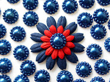 "100! Lovely Navy Blue Pearl Flower Flatback Embellishments - 12mm/0.4"" Pearls"