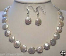 Genuine 11-12MM White Coin Pearl Necklace Earrings Set
