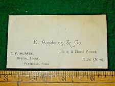 1870s D. Appleton & Co., NY Book Publisher E.F. Murfee, CT Business Card F12