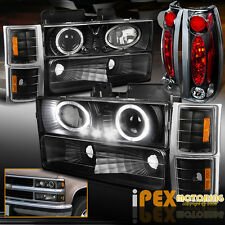 94-98 Chevy Silverado [10Pcs] Projector Dual Halo Black LED Headlight+Tail Light