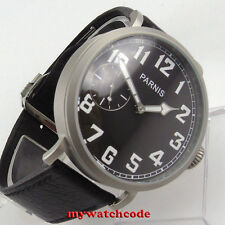 46mm parnis black dial 6497 hand winding deploymant clasp mens watch P685