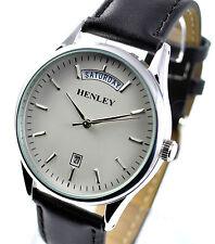 Henley Hombre Cuero Real discreto Día Fecha Reloj Correa Negro Dial Silvertone