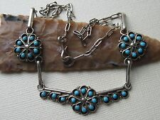 Vintage Zuni Robert Dishta Snake Eye Turquoise and Sterling Silver Necklace